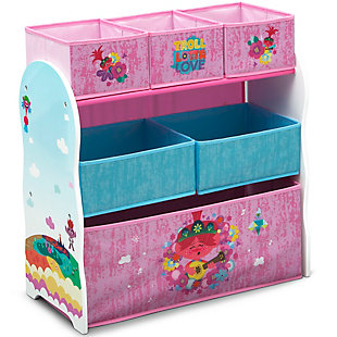 Delta Children Trolls World Tour Design and Store 6 Bin Toy Organizer, , large