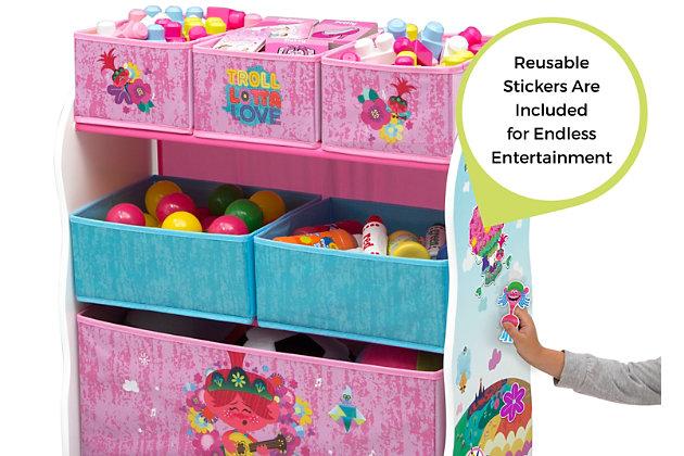 Delta Children Trolls World Tour Design And Store 6 Bin Toy Organizer, , large