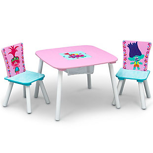 Delta Children Trolls World Tour Table And Chair Set With Storage, , large