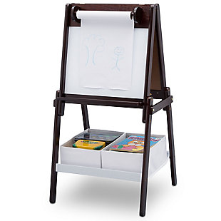 Delta Children MySize Double-Sided Storage Easel, Brown, large