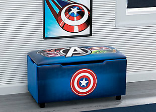 Delta Children Marvel Avengers Upholstered Storage Bench for Kids, , rollover