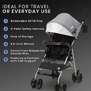 Delta Children 365 Lightweight Stroller, Gray, rollover