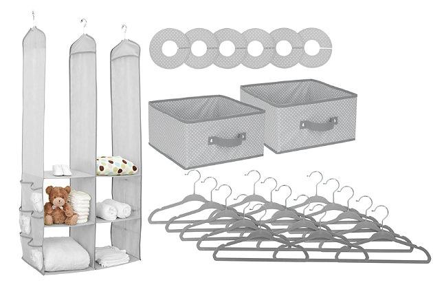 Delta Children 24-Piece Nursery Storage Set, Dove Gray, large
