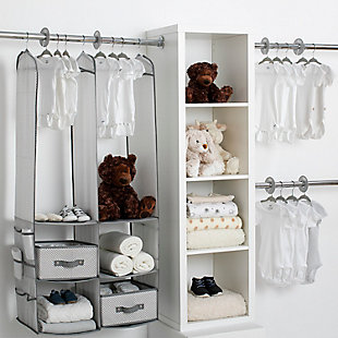 Delta Children 24-Piece Nursery Storage Set, Gray, large