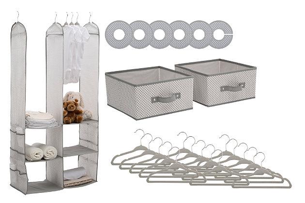 Delta Children 24-Piece Nursery Storage Set, Gray, large