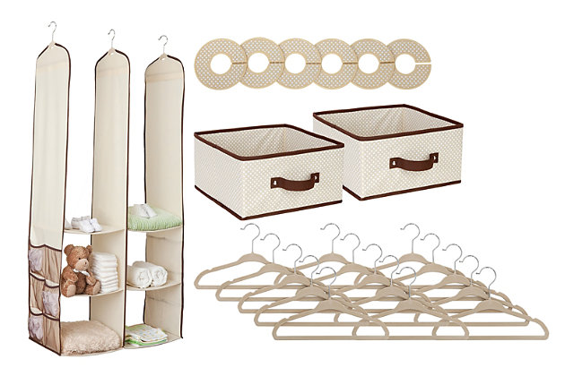 Delta Children 24-Piece Nursery Storage Set, Beige, large