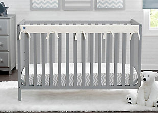 Delta Children Waterproof Fleece Crib Rail Cover for Front or Back Rail, White, rollover