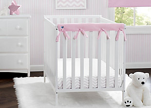 Delta Children Waterproof Fleece Crib Rail Covers for Short Side Rails, Pink, rollover