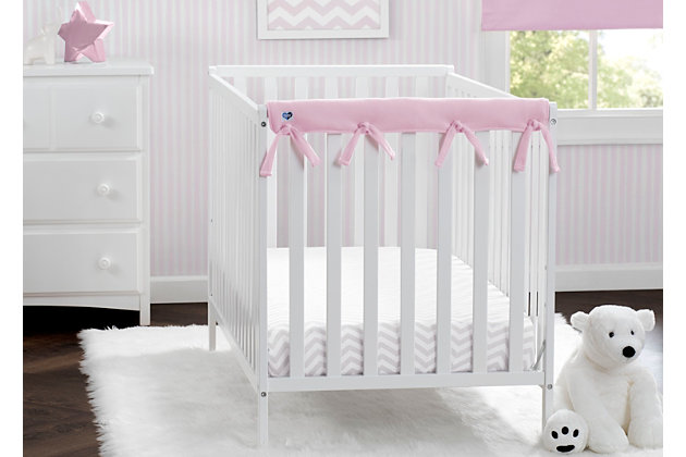Delta Children Waterproof Fleece Crib Rail Covers for Short Side Rails, Pink, large