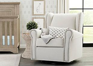 Delta Children Middleton Upholstered Glider Swivel Rocker Chair, White, rollover