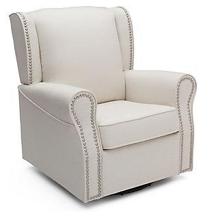Delta Children Middleton Upholstered Glider Swivel Rocker Chair, White, large