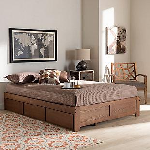 Baxton Studio Wren 3-Drawer Queen Platform Storage Bed Frame, Brown, rollover