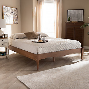 Baxton Studio Marieke Vintage French Inspired Queen Wood Bed Frame, Brown, rollover