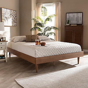Baxton Studio Rina Mid-Century Queen Wood Bed Frame, Brown, rollover