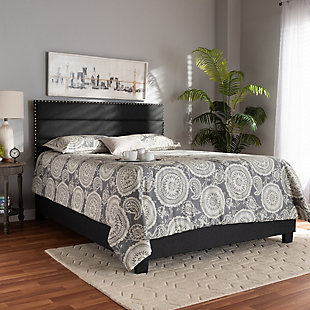Baxton Studio Ansa Upholstered Queen Bed, Gray, rollover