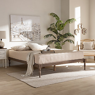 Baxton Studio Iseline Antique Oak Wood Queen Platform Bed Frame, Antique, rollover
