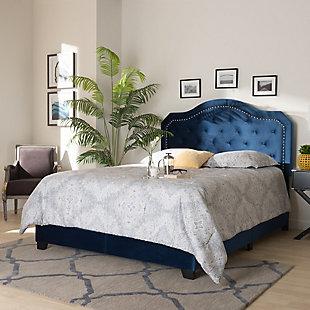 Baxton Studio Samantha Velvet Upholstered King Button Tufted Bed, Blue, rollover