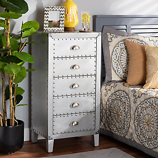 Baxton Studio Carel Metal 5-Drawer Accent Chest, , rollover