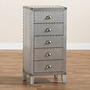 Baxton Studio Carel Metal 5-Drawer Accent Chest, , large