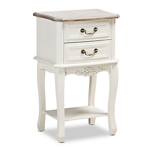 Baxton Studio Amalie Country Cottage Two-Tone 2-Drawer Wood Nightstand, , large