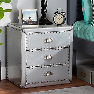 Baxton Studio Armel Metal 3-Drawer Nightstand, , rollover