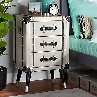 Baxton Studio Dilan Antique Industrial Trunk Inspired 3-Drawer Nightstand, , rollover