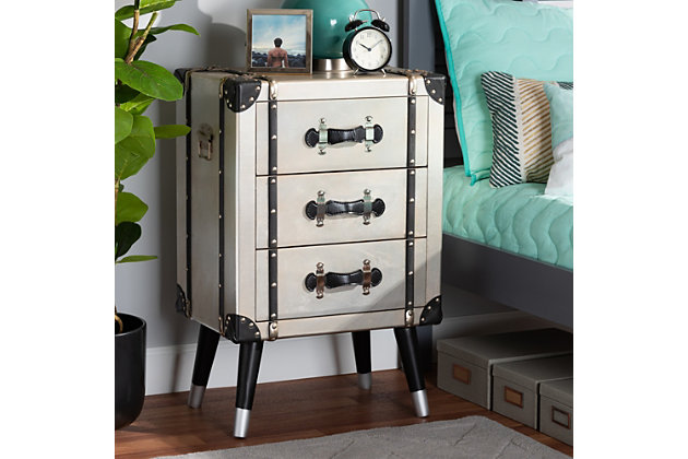 Baxton Studio Dilan Antique Industrial Trunk Inspired 3-Drawer Nightstand, , large