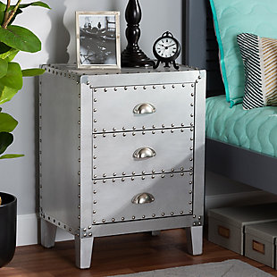 Baxton Studio Claude Metal 3-Drawer Nightstand, , rollover