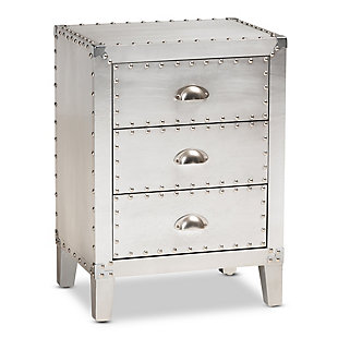 Baxton Studio Claude Metal 3-Drawer Nightstand, , large