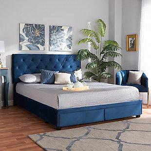 Baxton Studio Caronia Velvet Upholstered Queen Platform Storage Bed, Blue, rollover
