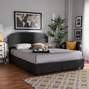 Baxton Studio Larese Upholstered 2-Drawer Queen Platform Storage Bed, Gray, rollover