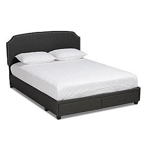 Baxton Studio Larese Upholstered 2-Drawer Queen Platform Storage Bed, Gray, large