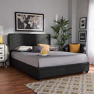 Baxton Studio Netti Upholstered 2-Drawer Queen Platform Storage Bed, Gray, rollover