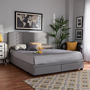Baxton Studio Netti Upholstered 2-Drawer Queen Platform Storage Bed, Light Gray, rollover