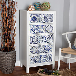 Baxton Studio Alma Spanish Mediterranean Inspired 5-Drawer Accent Chest, , rollover