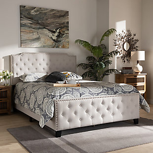 Baxton Studio Marion Upholstered Button Tufted Queen Panel Bed, Beige, rollover