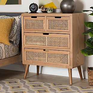 Baxton Studio Alina Mid-Century Oak Wood and Rattan 4-Drawer Accent Chest, , rollover