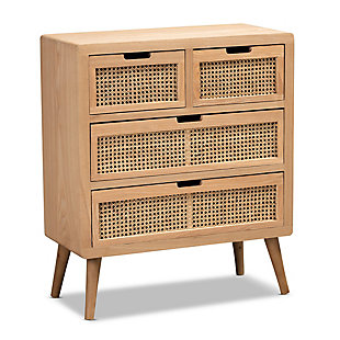 Baxton Studio Alina Mid-Century Oak Wood and Rattan 4-Drawer Accent Chest, , large