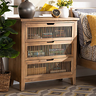 Baxton Studio Clement Oak 3-Drawer Wood Spindle Chest, , rollover