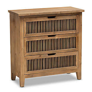 Baxton Studio Clement Oak 3-Drawer Wood Spindle Chest, , large