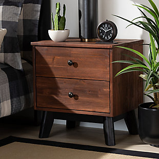 Baxton Studio Calla Oak 2-Drawer Wood Nightstand, , rollover