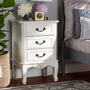 Baxton Studio Gabrielle French Country Provincial 3-Drawer Nightstand, , rollover