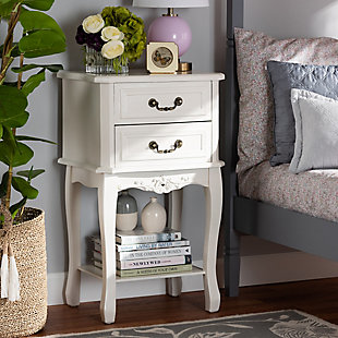 Baxton Studio Gabrielle French Country 2-Drawer Wood Nightstand, , rollover