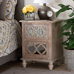 Baxton Studio Celia Wood and Mirror 2-Drawer Quatrefoil Nightstand, , rollover