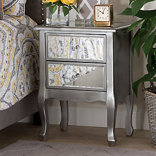 Baxton Studio Leonie French Brushed Wood and Mirrored Glass Nightstand, , rollover