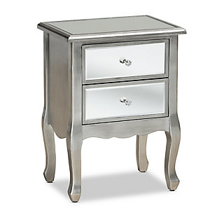 Baxton Studio Leonie French Brushed Wood and Mirrored Glass Nightstand, , large