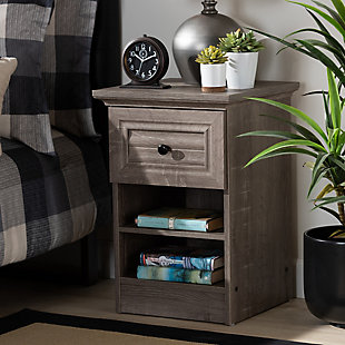 Baxton Studio Dara 1-Drawer Wood Nightstand, , rollover