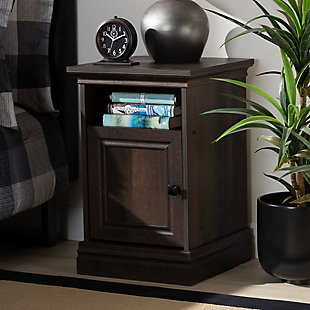 Baxton Studio Nolan 1-Door Wood Nightstand, , rollover