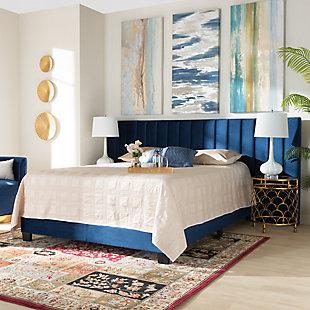 Baxton Studio Fiorenza Velvet Upholstered King Panel Bed, Blue, rollover