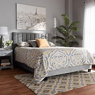 Baxton Studio Clare Velvet Upholstered King Panel Bed, Gray, rollover